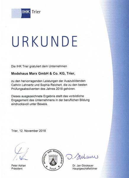 IHK Urkunde für hervorragende Leistungen der Auszubildenden 2018