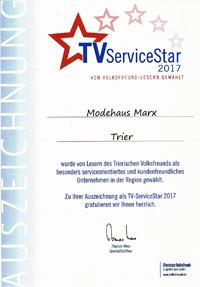 Urkunde Service Star